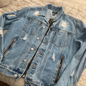 Forever 21 Men's Distressed Jean Jacket